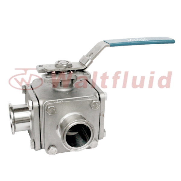 3-Way Stainless Steel Ball Valve Full Port,Clamp  ENd,1000WOG, ISO5211-Direct Mount Pad